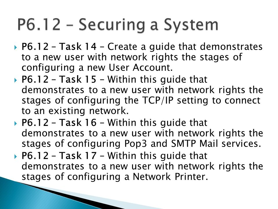 P6.12 – Securing a System