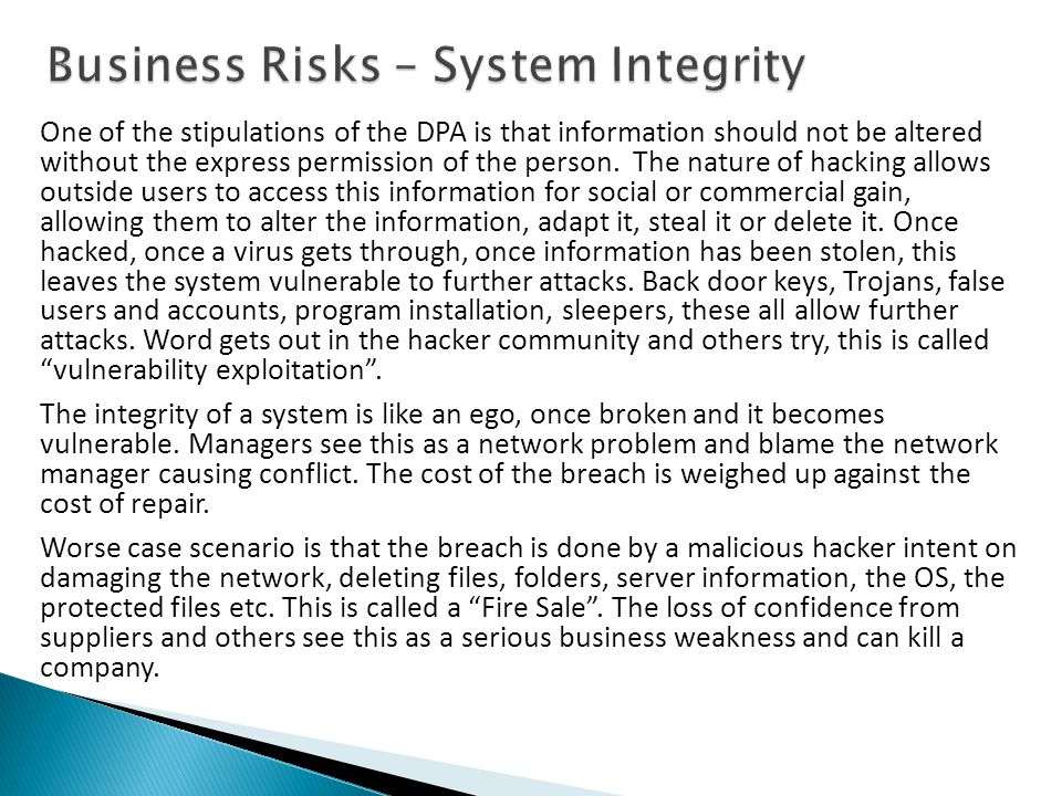 Business Risks – System Integrity