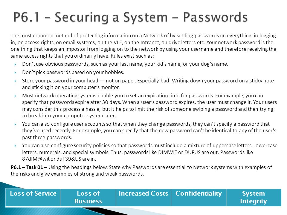 P6.1 – Securing a System - Passwords