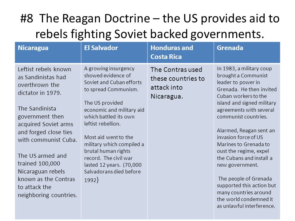 the reagan doctrine For both good and ill, the 21st century world has been profoundly shaped by  ideas advanced during the presidency of ronald reagan two.