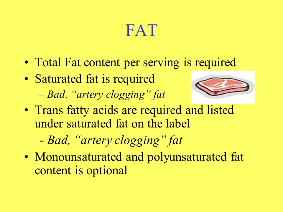 FAT Total Fat content per serving is required