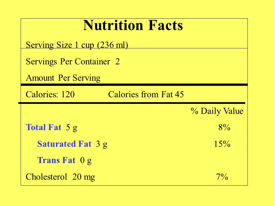 Nutrition Facts Serving Size 1 cup (236 ml) Servings Per Container 2