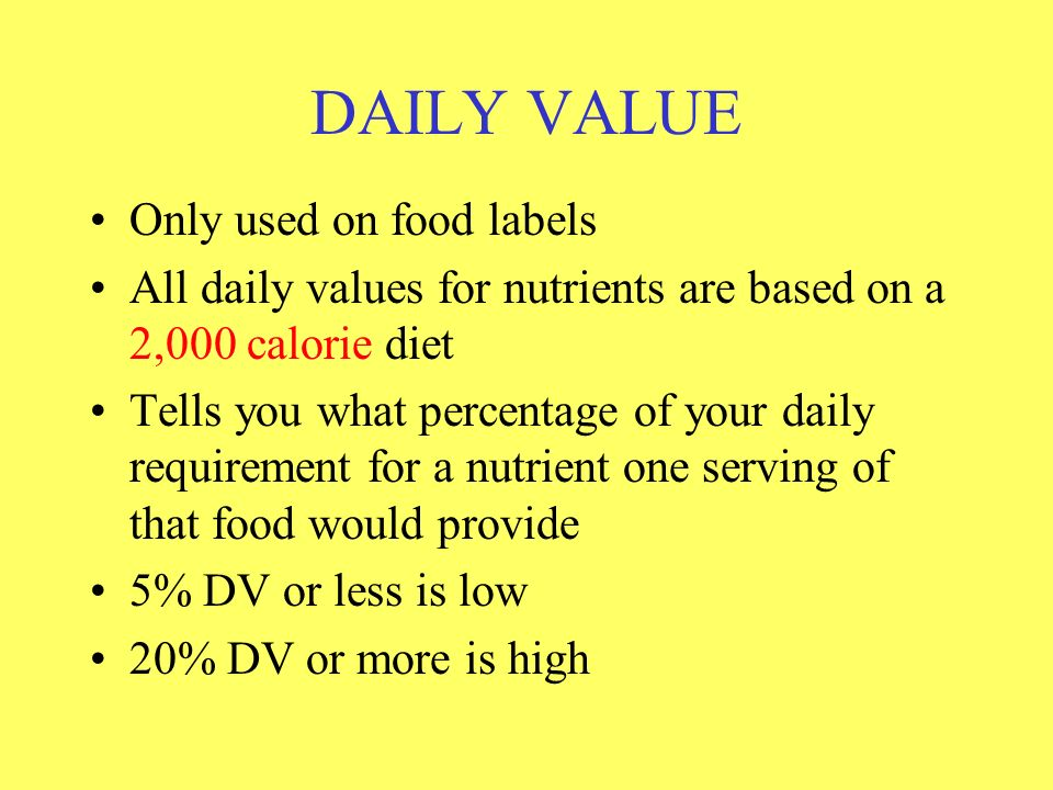 DAILY VALUE Only used on food labels