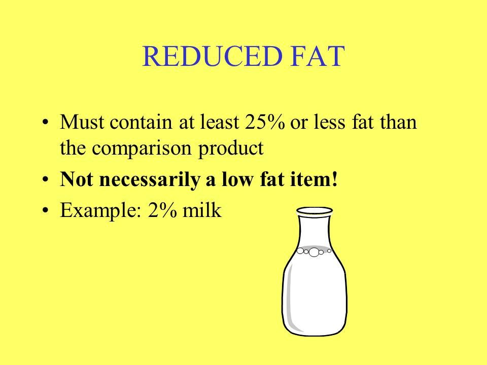 REDUCED FAT Must contain at least 25% or less fat than the comparison product. Not necessarily a low fat item!