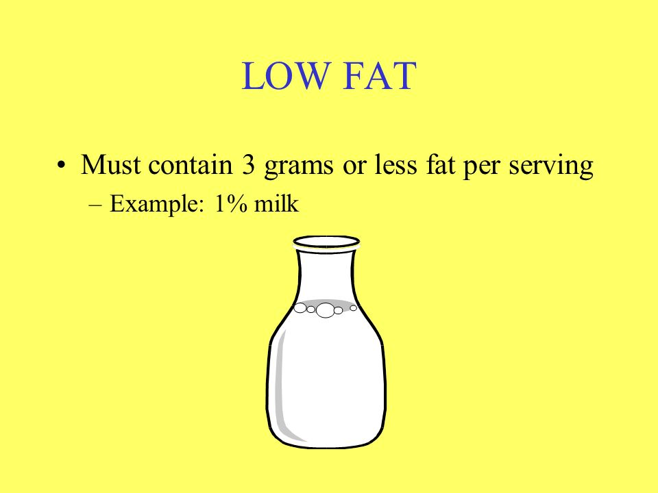 LOW FAT Must contain 3 grams or less fat per serving Example: 1% milk