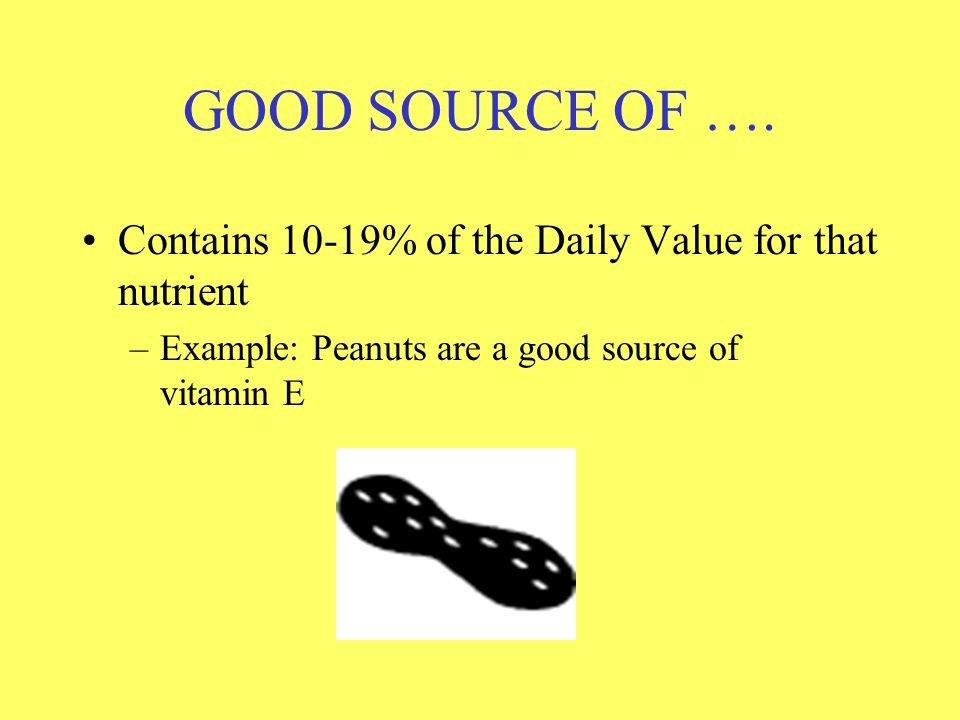 GOOD SOURCE OF …. Contains 10-19% of the Daily Value for that nutrient