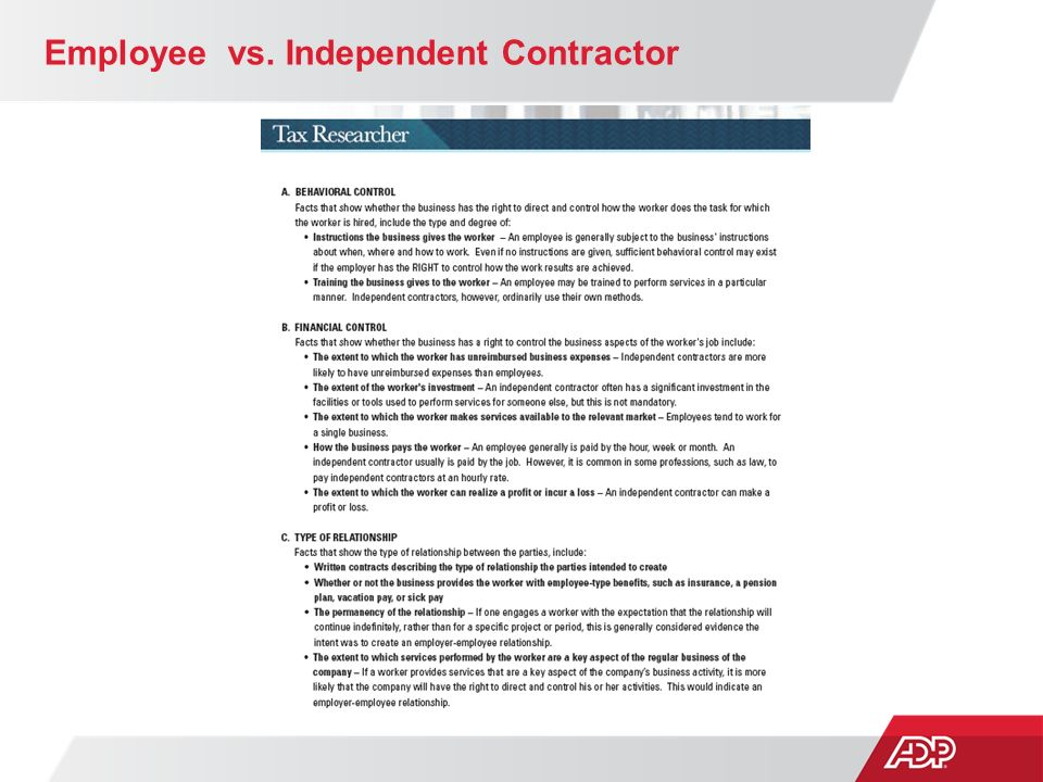 employee vs independent contractor Employee vs independent contractor the purpose of the independent  contractors and consultants guide is to provide the university community with  an.