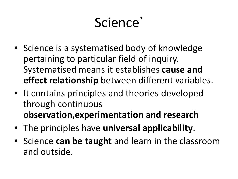 cause and effect relationship definition in science