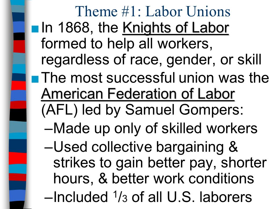 Theme #1: Labor Unions In 1868, the Knights of Labor formed to help all workers, regardless of race, gender, or skill.