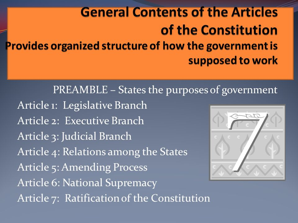 General Contents of the Articles of the Constitution Provides organized structure of how the government is supposed to work