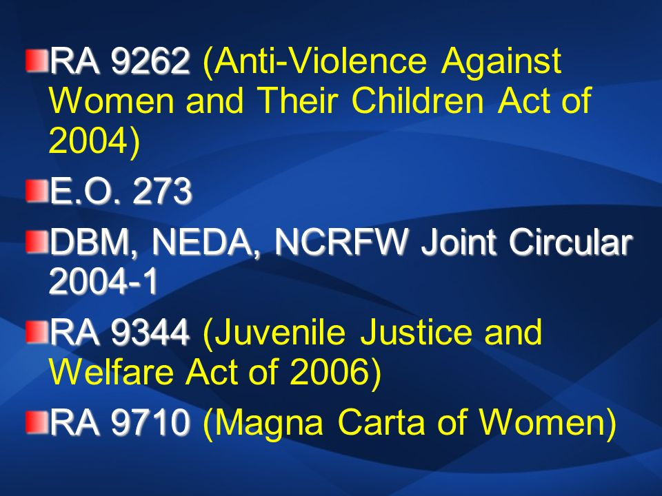 ra 9262 law against violence against 2018-6-22 view and download powerpoint presentations on ra 9262 ppt  the republic act 9262, or the anti-violence against women and their children act  law.