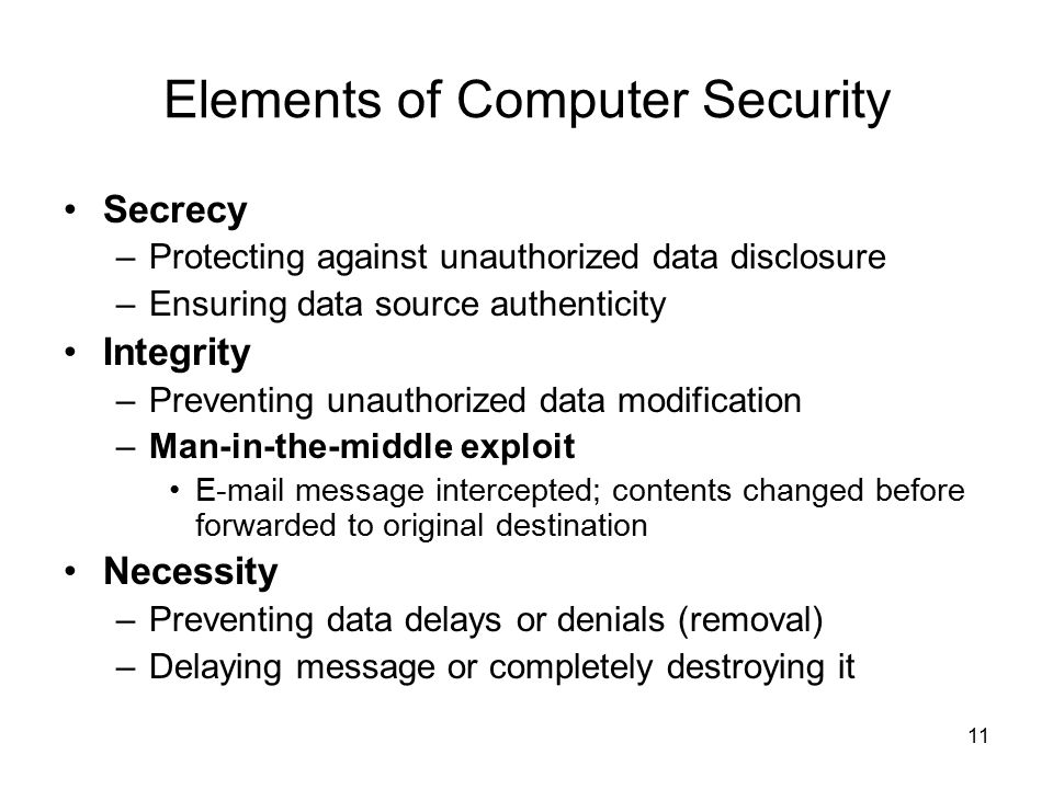 elements of computer security The work on modeling security in stand-alone computer systems has attained a  degree of  fied elements of sfrs related to the sfp, appropriate security.
