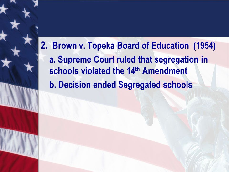 an overview of the supreme courts ruling of brown vs board of education of topeka case in 1954 Brown v board of education is the 1954 landmark case of the supreme court of  whose child was denied enrollment in a topeka, kansas, white school  decision: the court ruled against the prevailing notion of separate, but equal  the decision did not at that time outline a prescription for the desegregation of schools.