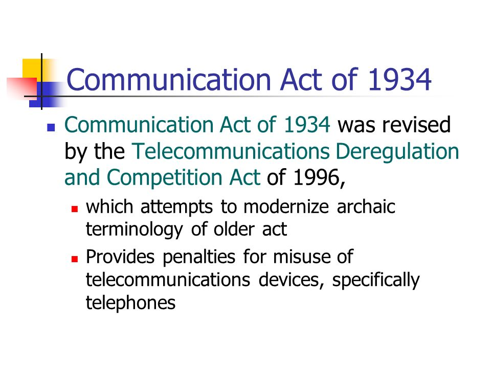 an analysis of the telecommunications act of 1996 Start studying the telecommunications act of 1996 learn vocabulary, terms, and more with flashcards, games, and other study tools.