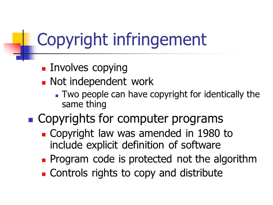 the inappropriate copyright and patent laws for computer software The difference between copyrights and patents is  software, artwork, architectural drawings, maps and similar works are all protected under copyright laws.