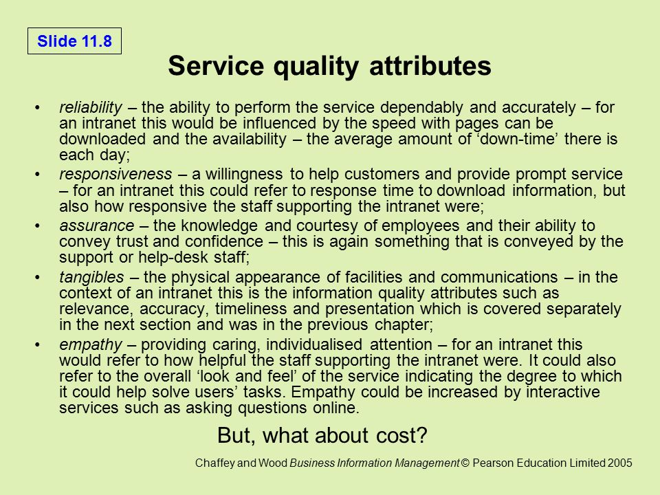 an effect of service quality attributes This study was carried out to determine the effect of different storage conditions on the quality attributes of eggs usda food safety and inspection service (2011.