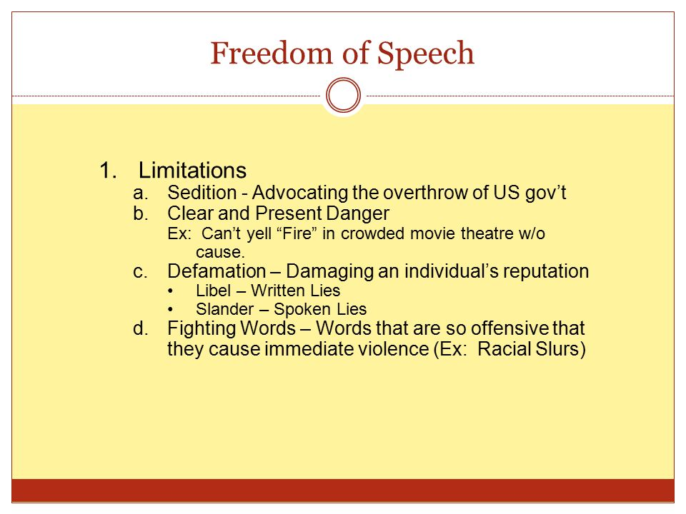 freedom of speech 2 essay More than two centuries after freedom of speech was enshrined in the first amendment to the constitution, that right is very much in the news.