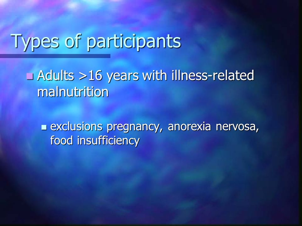 Types of participants Adults >16 years with illness-related malnutrition.