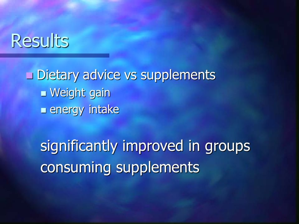 Results significantly improved in groups consuming supplements