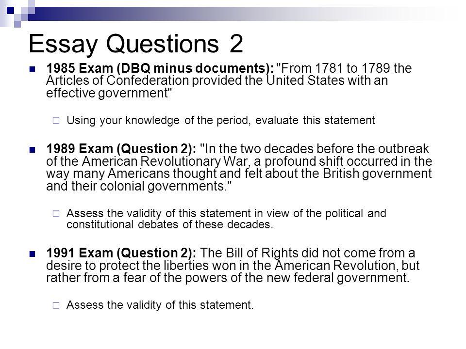 American revolution essay questions