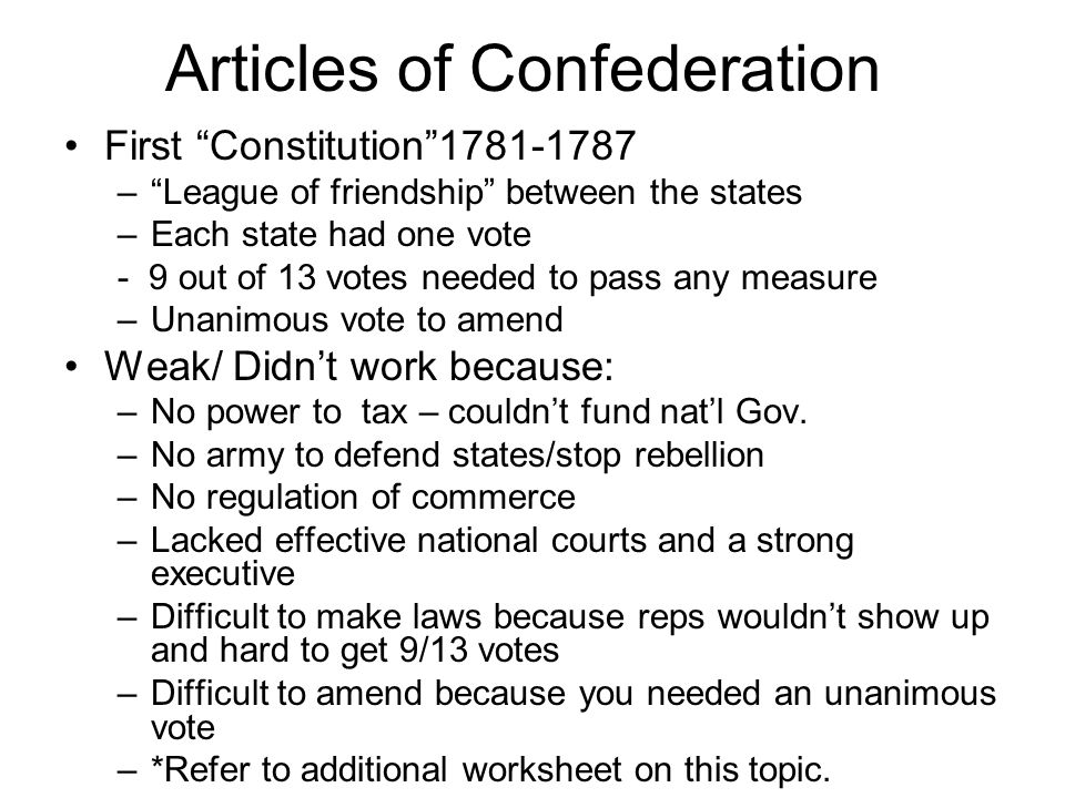 an examination of the articles of confederation The articles of confederation, and by allowing the proposed constitution to be   by examining the content of the document as well as the unani- mous approval.