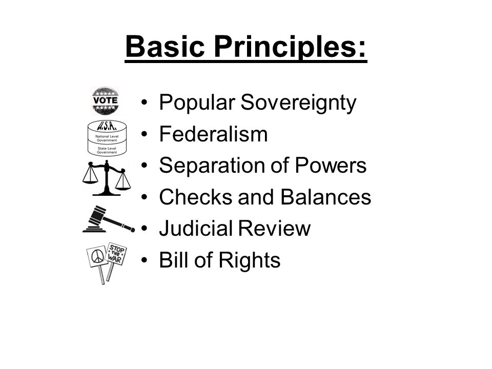 Basic Principles: Popular Sovereignty Federalism Separation of Powers