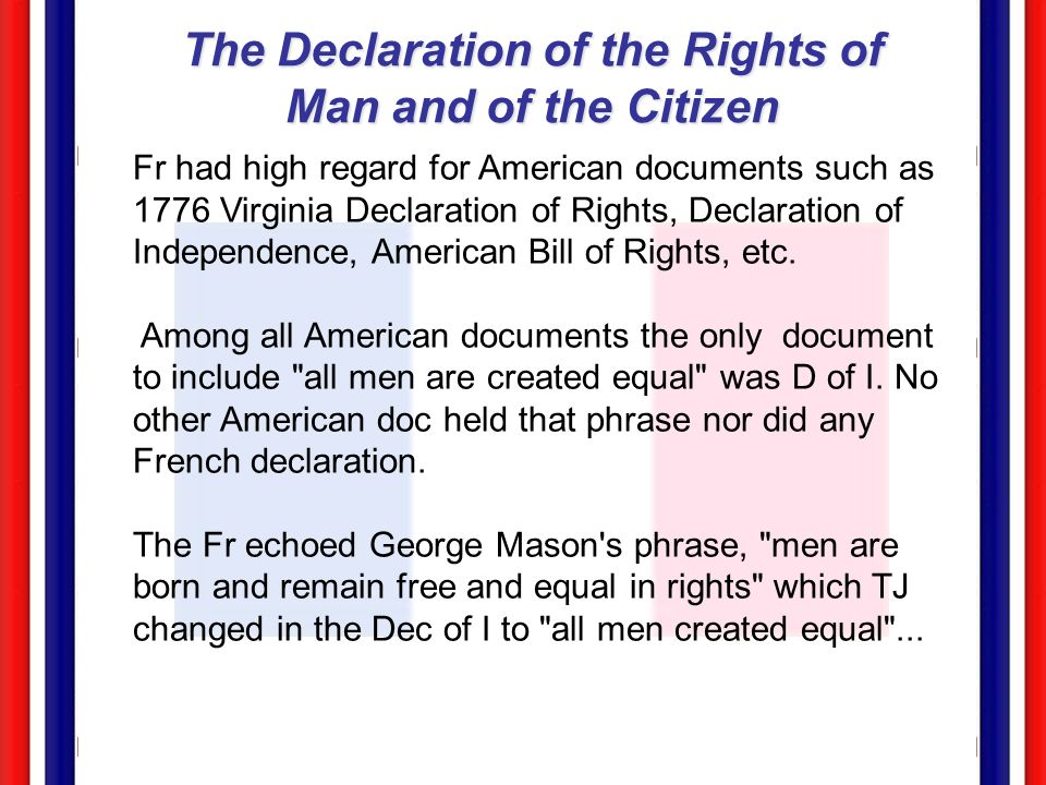 equal rights and equal men 1774 1776 The declaration of independence, thomas jefferson that all men are created equal, that they are endowed by their creator with certain unalienable rights  between 1774 and 1776 filippo mazzei, wrote.