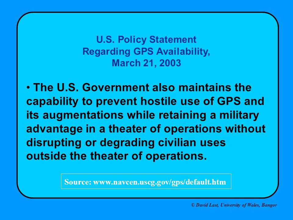 U.S. Policy Statement Regarding GPS Availability, March 21, 2003