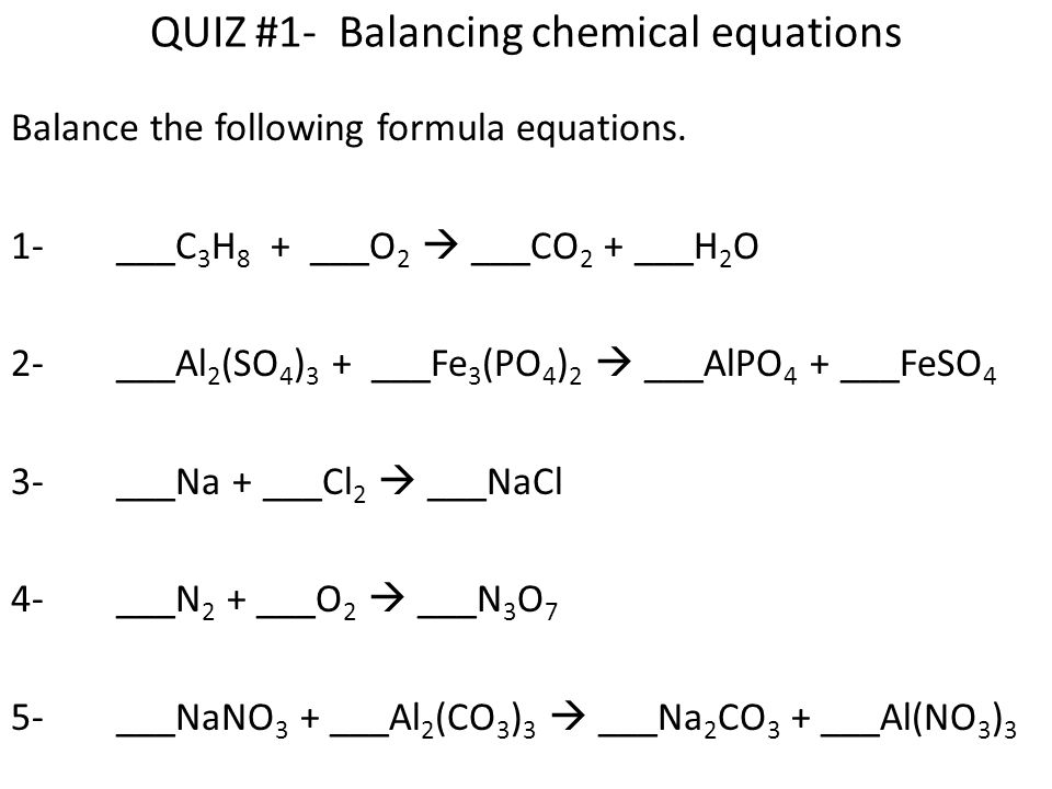 balancing chemical equations In this interactive simulation, users adjust the coefficients in an equation while the molecules are depicted in a box above the equation this allows the users to visualize what the symbols in the chemical equation actually mean.