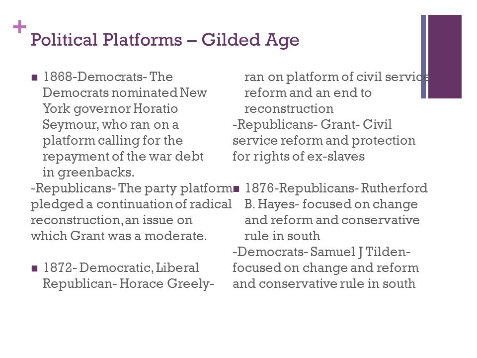 democratic and republican parties gilded age And robert reich, the former democratic labor secretary under bill clinton,   the republican party proudly stood upon the gilded age.