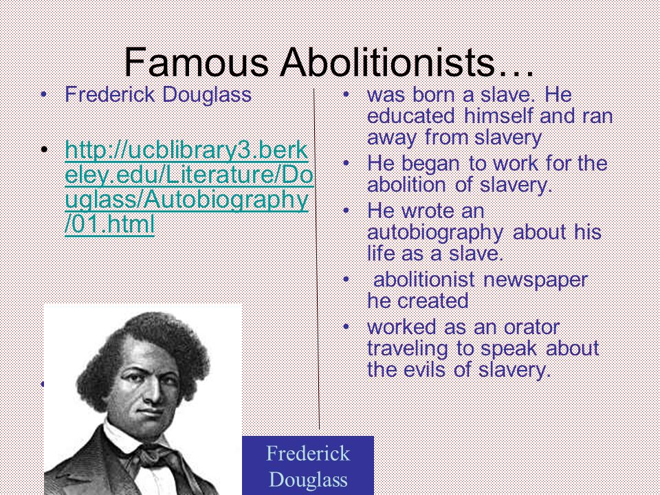 a comparison of the anti slavery texts of frederick douglass and harriet beecher stowe Harriet beecher stowe, letter to william lloyd garrison about frederick douglass race-based legislation in the north a northern freeman enslaved by northern hands.