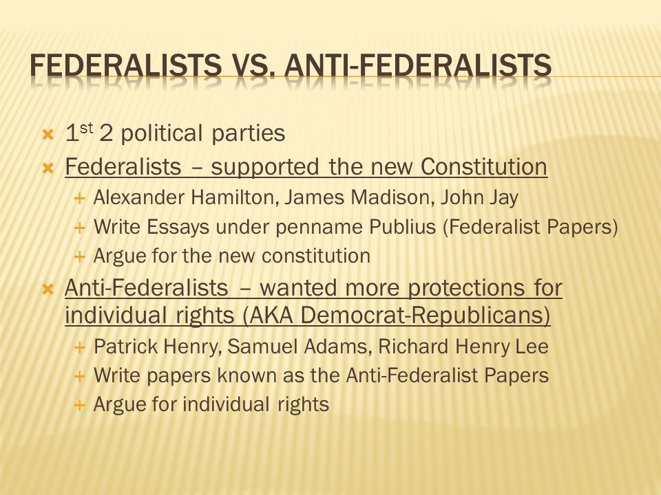warm up did we keep the articles of confederation why or why not  16 federalists vs anti federalists