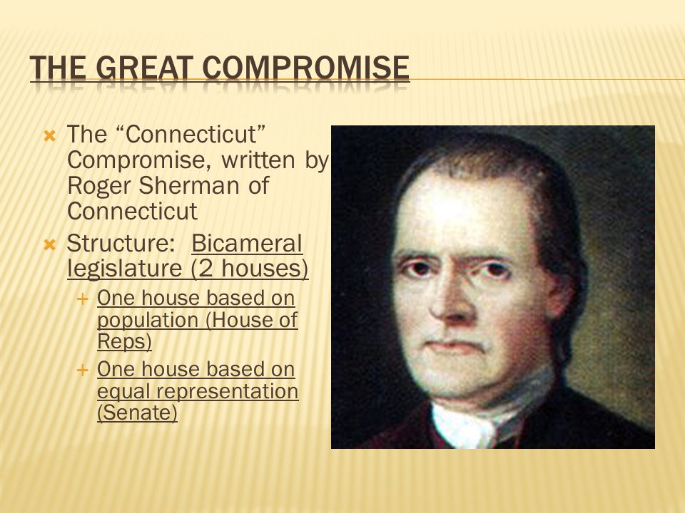 the connecticut compromise On july 16, 1787, a plan proposed by roger sherman and oliver ellsworth, connecticut's delegates to the constitutional convention, established a two-house legislaturethe great compromise, or connecticut compromise as it is often called, proposed a solution to the heated debate between larger and smaller states over their representation in the newly proposed senate.
