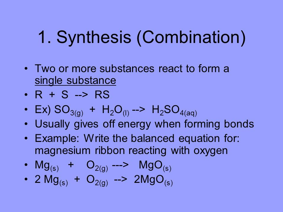 1. Synthesis (Combination)