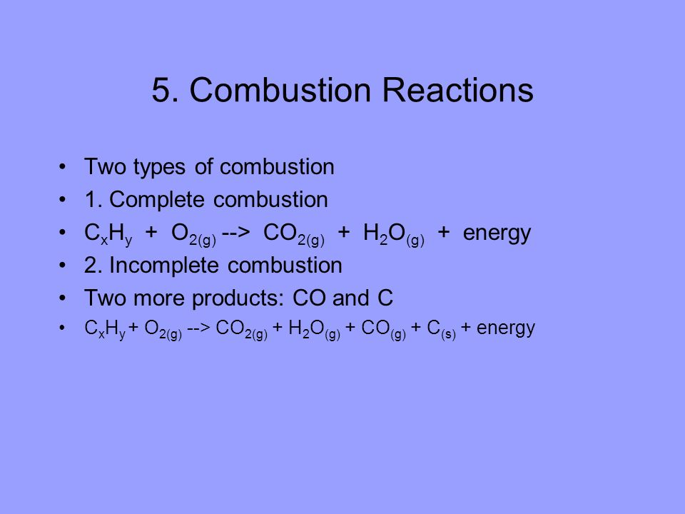 5. Combustion Reactions Two types of combustion 1. Complete combustion