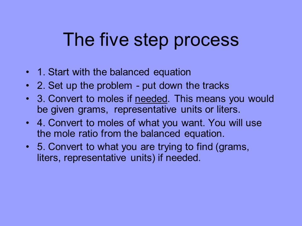 The five step process 1. Start with the balanced equation