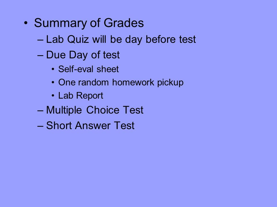 Summary of Grades Lab Quiz will be day before test Due Day of test