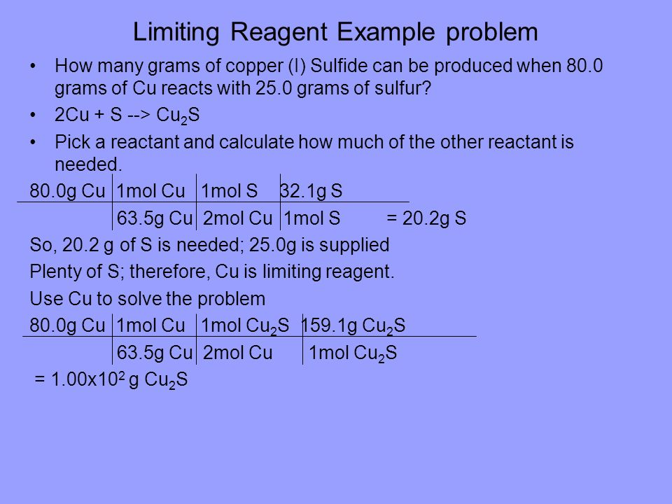 Limiting Reagent Example problem