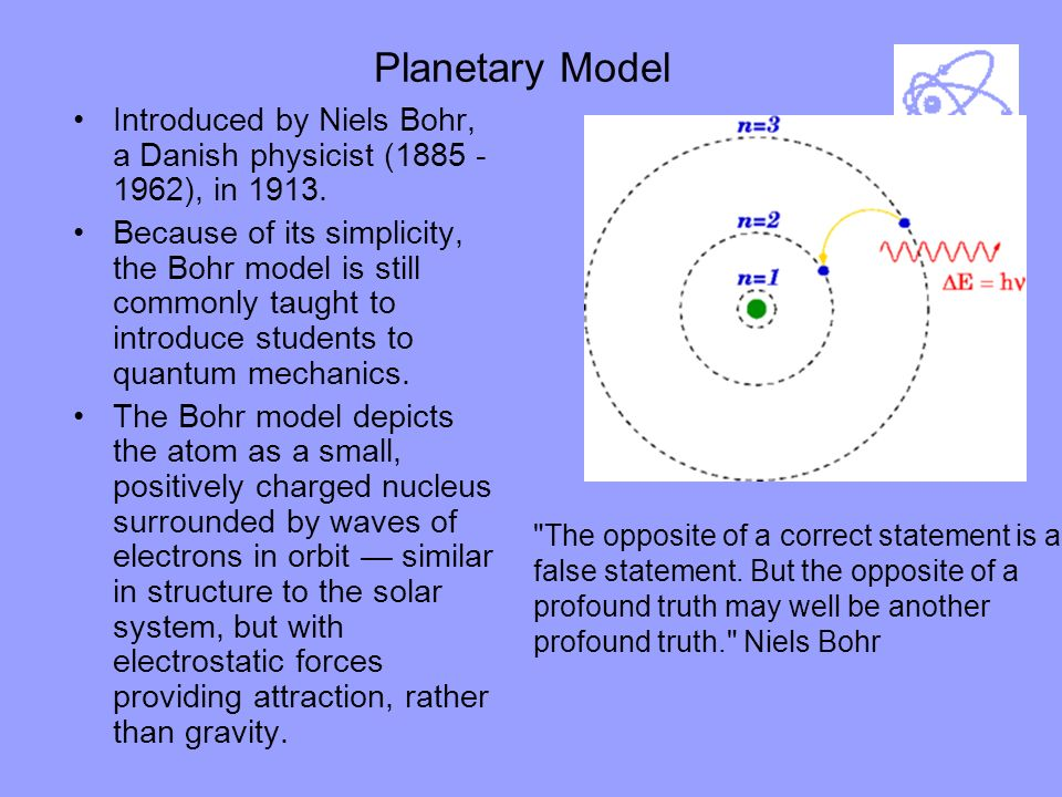 Planetary Model Introduced by Niels Bohr, a Danish physicist (1885 - 1962), in 1913.