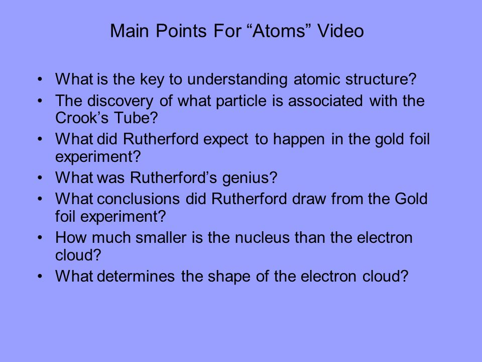 Main Points For Atoms Video