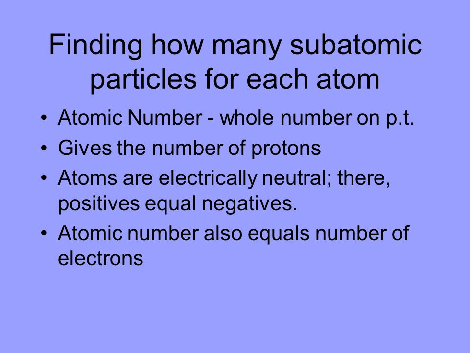 Finding how many subatomic particles for each atom