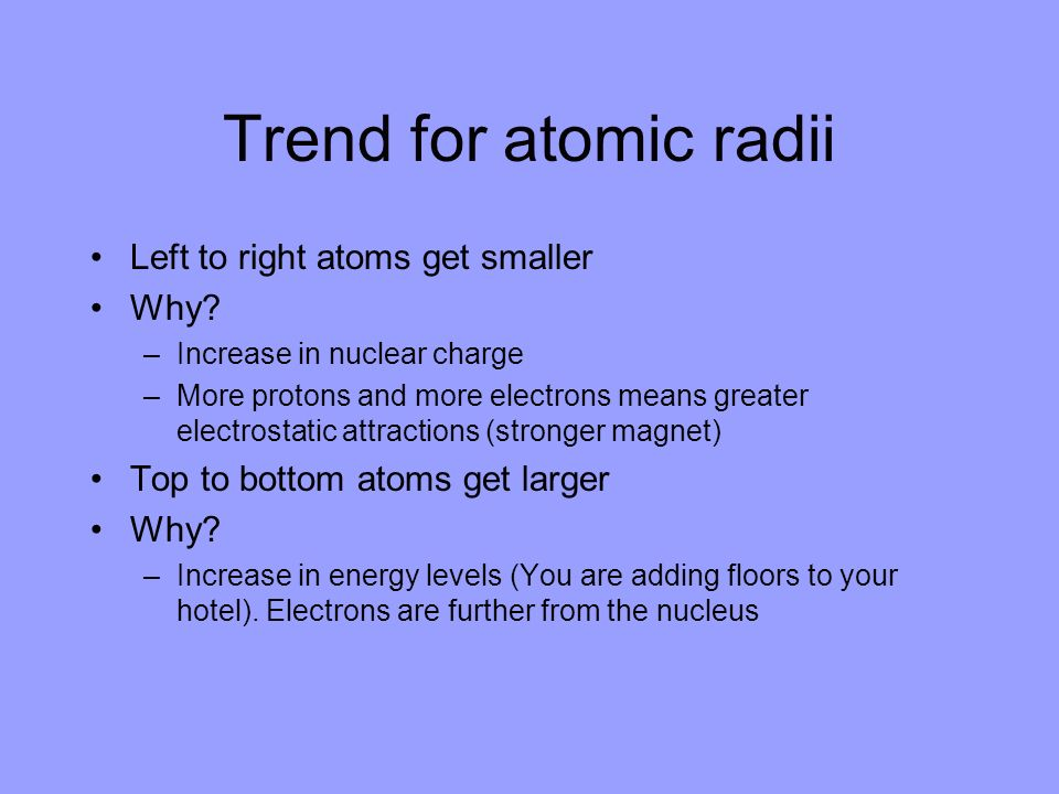 Trend for atomic radii Left to right atoms get smaller Why