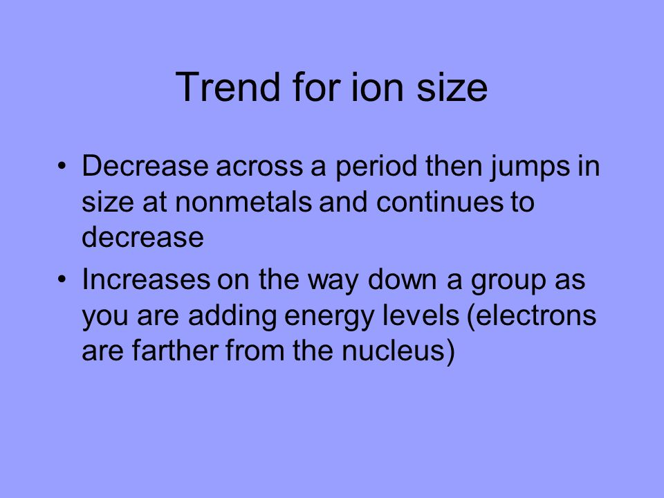 Trend for ion size Decrease across a period then jumps in size at nonmetals and continues to decrease.