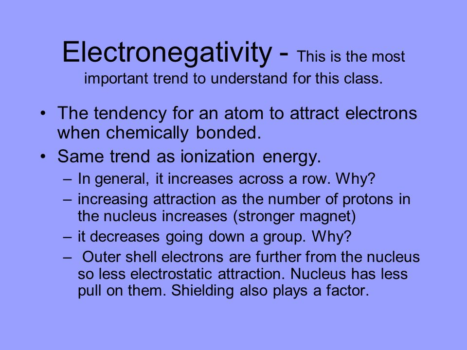 Electronegativity - This is the most important trend to understand for this class.