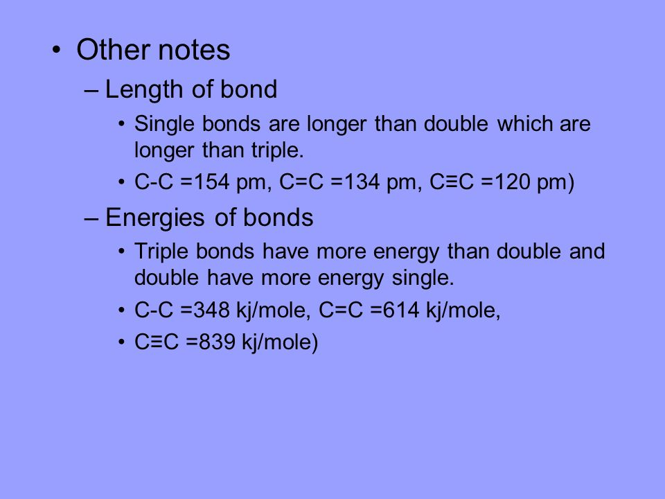 Other notes Length of bond Energies of bonds