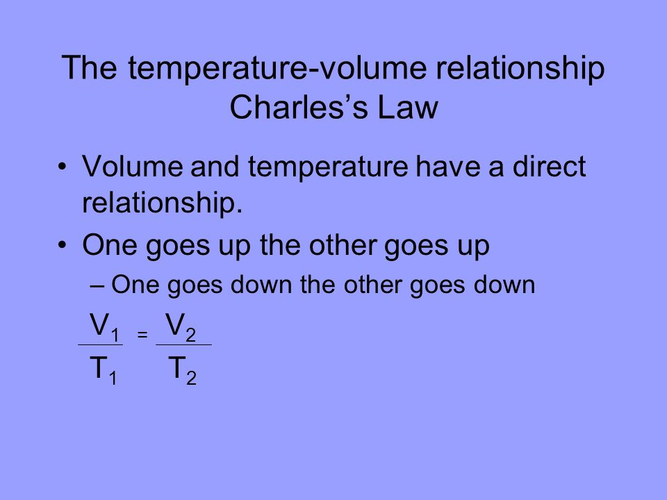 The temperature-volume relationship Charles's Law