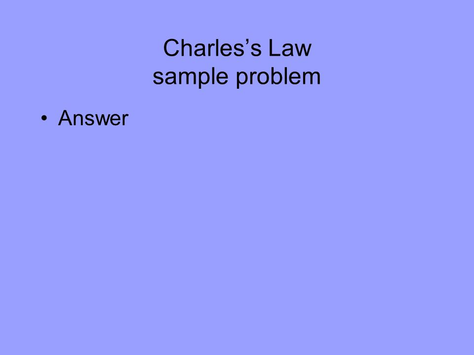 Charles's Law sample problem