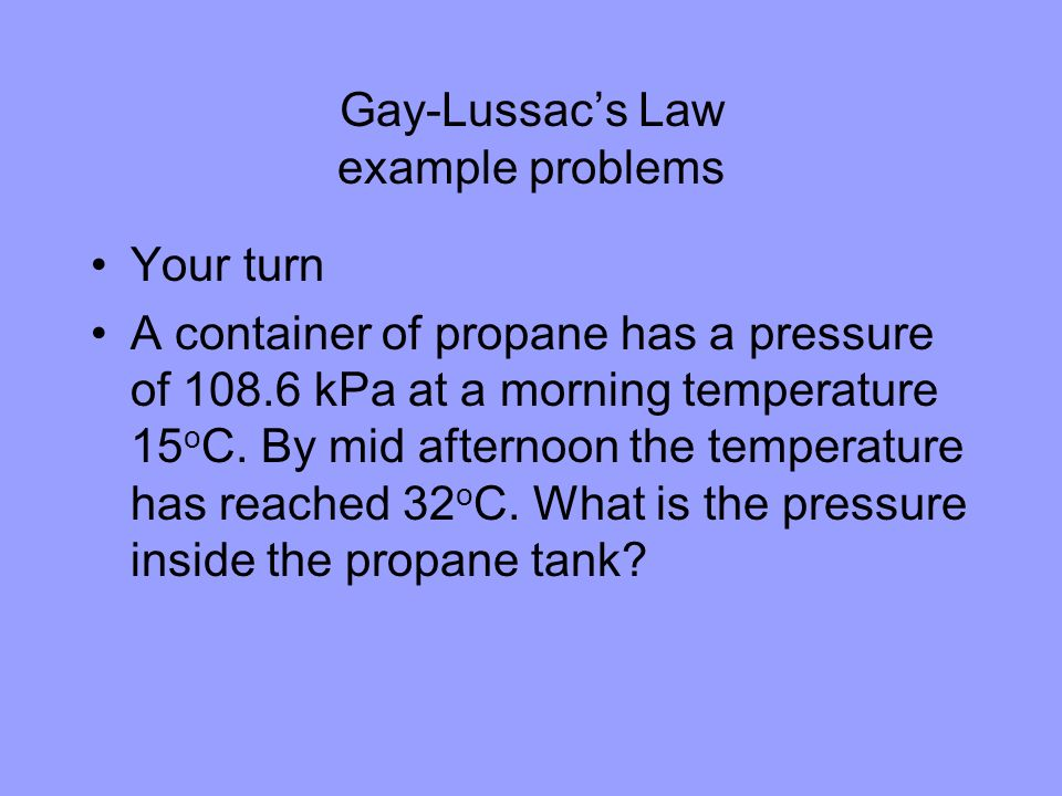 Gay-Lussac's Law example problems