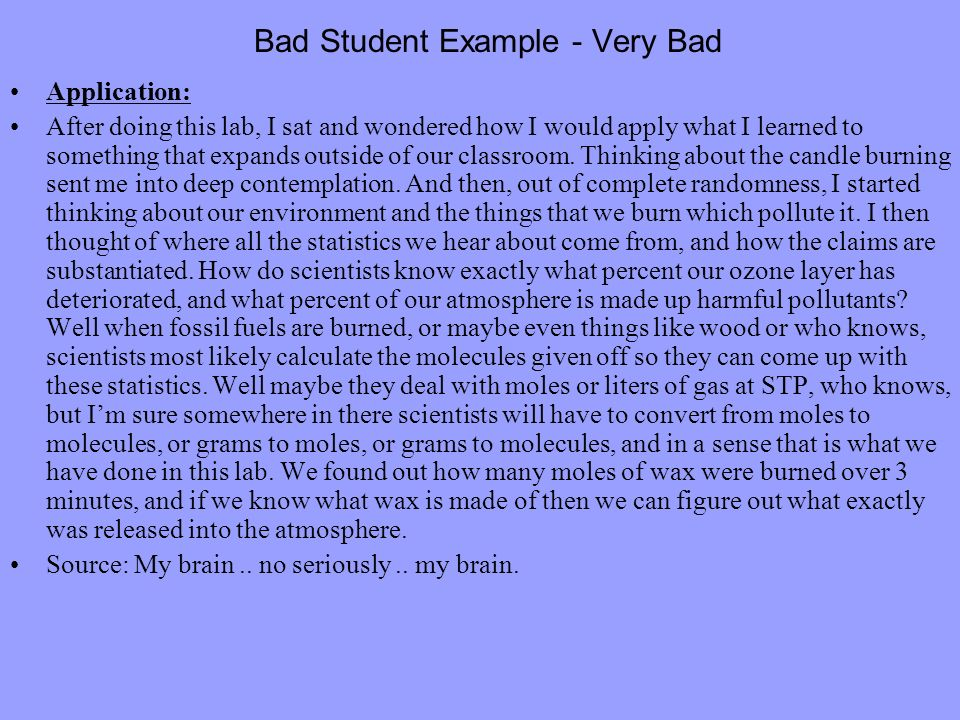 Bad Student Example - Very Bad