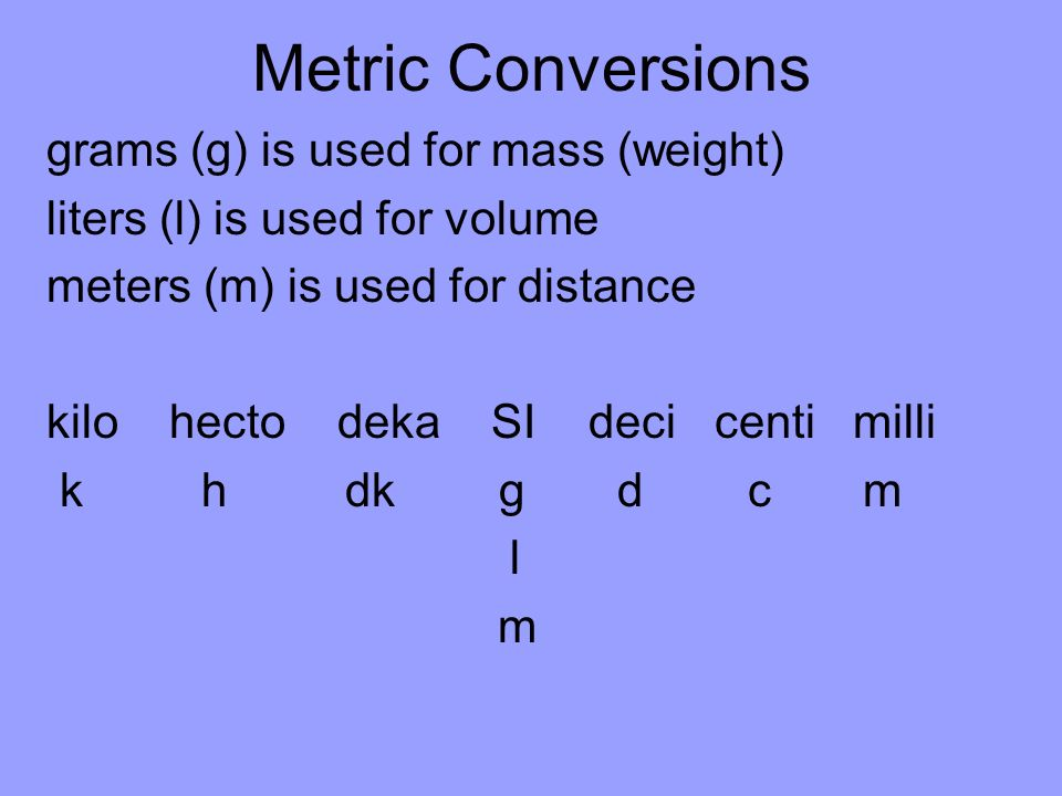 Metric Conversions grams (g) is used for mass (weight)